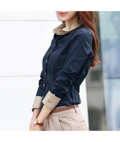 Korean Tops Women Shirts Office Lady Slim Plus Size Chiffon Blouses Casual Lapel Long Sleeve Blusa Patchwork Spring Blouse 5...