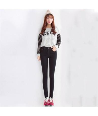 Korean Slim Jeans Women 2019 New Spring Autumn High Waist Black Dark Blue Plus Size Fashion Long Pencil Pants Feminina LD116...