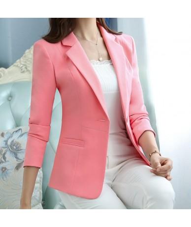 Fashion elegant autumn slim work wear women formal full sleeve sky blue blazers coats female office plus size jacket - pink ...