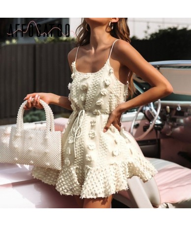 Sexy elegant lace up summer short dress women Vintage spaghetti strap white dress Casual embroidery beach dress female - Lig...