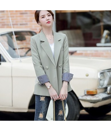 Womens casual Pant Suits 2019 Fashion Suits Set Feminino loose blazer and pant 2 Pieces Sets - Green Blazer - 5H111253902805-5