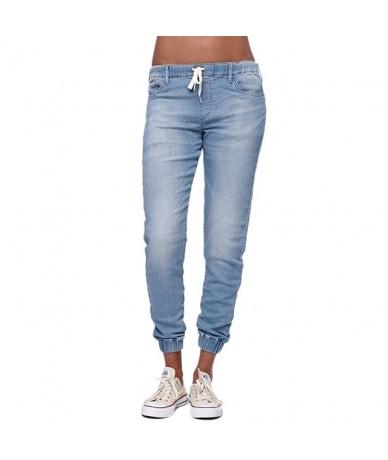 2018 new hotsale fashion Women Casual Jogger Pants Drawstring Elastic Waisted Jeans Solid Ladies Denim Pants Slim Leggings P...