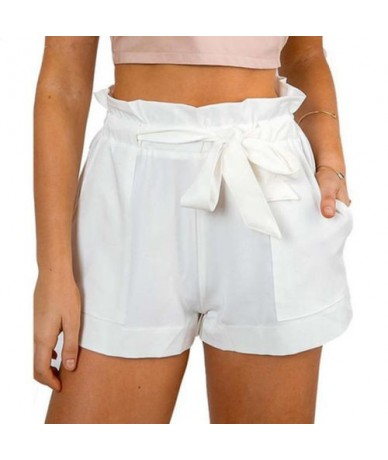 Women Lady Sexy Ruffled Frill Shorts High Waist Ladies Party Mini Shorts Beach Bow Solid Shorts Trousers - White - 433018910...
