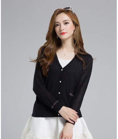 2018 womens spring Casual Cotton Long Sleeve V-Neck button closure Pockets Tops Coat Crochet Knit Thin Sweater women Cardiga...