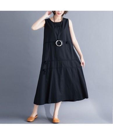 2019 New Summer dress Ladies Vintage Loose long dress Vestidos Robe Elbise Collage Bow Women dress - black - 4H4128406523