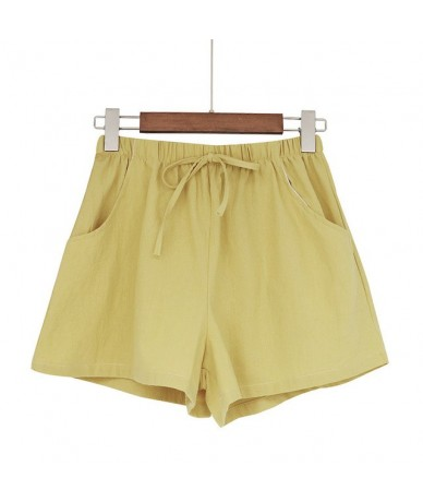 Summer New High Waist Pants Loose Korean Version Of The Thin Casual Cotton And Linen Solid Color Shorts Pants 2019 - YELLOW ...