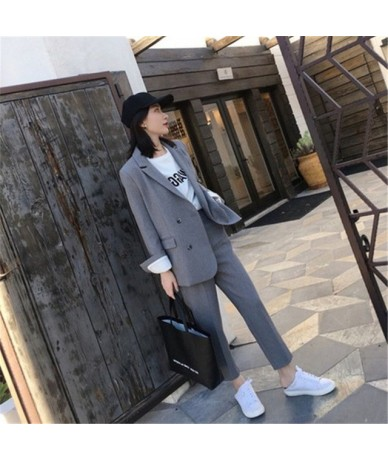 Work Pant Suits OL 2 Piece Sets Double Breasted Solid Blazer Jacket Zipper Trousers Suit For Women Set Feminino Spring - gra...