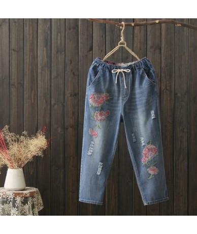 Hot Women's Jeans Casual 2019 Harem Pants Women Female Summer Holes Cotton Denim Trousers Embroidery Camouflage Plus Size M-...
