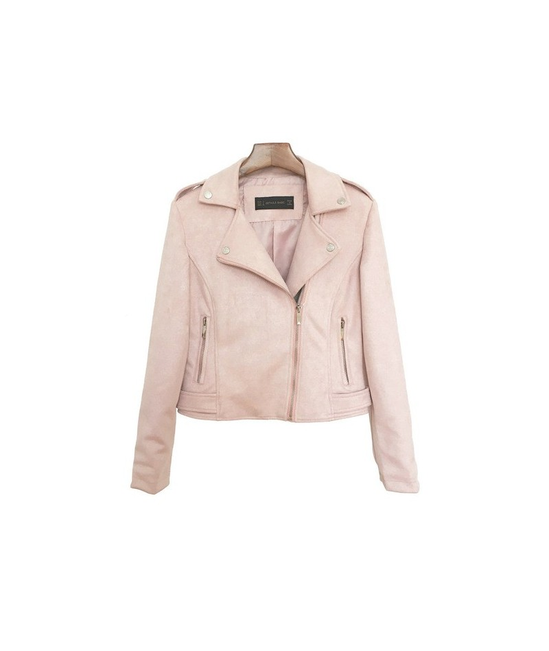2018 New Preppy Style Women Faux Soft Suede Leather Jackets Lady Slim fit Cute Matte Coat Outerwear Pink Red Gray Coffee - X...