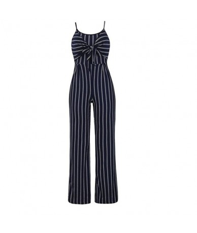 2019 Summer Blue Striped Backless Jumpsuit Women Sexy Straps Sleeveless Clubwear Rompers Womens Jumpsuits Casual Bowtie Over...