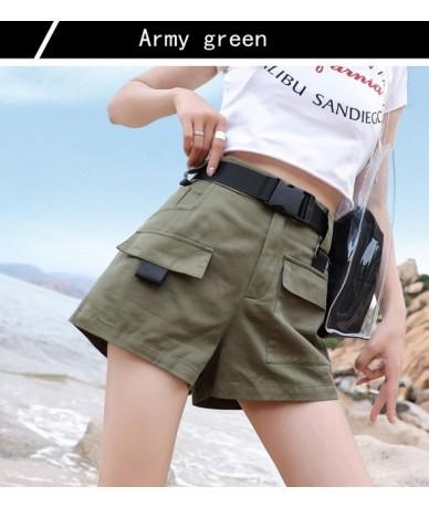 Big Pocket Shorts 2019 Summer with Belt Loose BF High Waist Straigh Shorts Elastic Waist Army Green Bottoms - army green - 4...