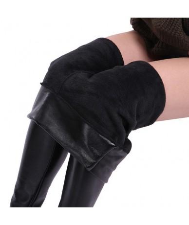 Winter Warm Leather Leggings Plus Size Women Clothing Plus Thick Velvet Pants Female Solid Black High Waist Legins Gothic - ...