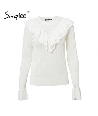 Elegant o neck ruffle knitted sweater women long sleeve jumpers Autumn winter casual pullovers and sweater - Beige White - 4...