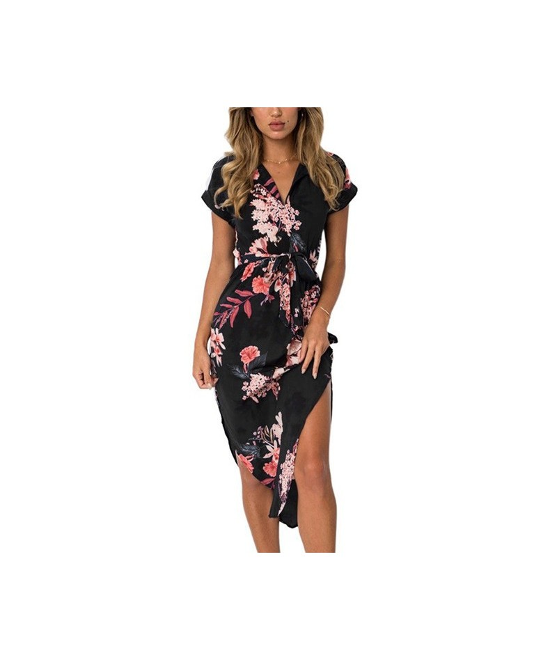 Summer Dress 2019 Women Boho Style Geometric Print Beach Dress Elegant Party Dresses with Belt Vestidos de fiesta Plus Size ...