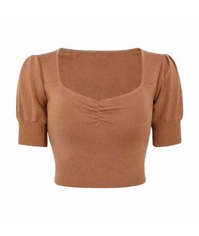 Women Petite Puff Sleeve Knit Top Sweetheart Neck Ruched Front Crop Knitting Top - khaki - 4T3087817394-2