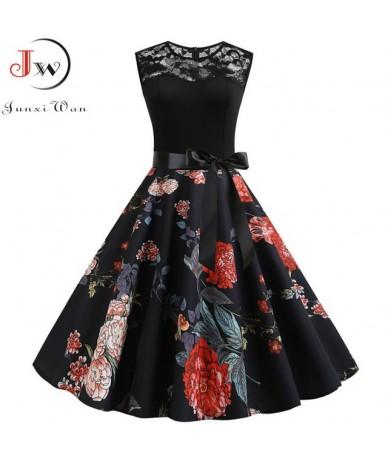 Sexy Floral Print Women Summer Dress 2019 Black Patchwork Lace Dress Vintage Holiday Vestidos Plus Size Sleeveless Slim Sund...