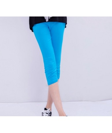 Summer style High Quality big elastic Plus size 7XL Big Size Candy Color Modal Mid-Calf leggings women pants - Sky Blue - 4...