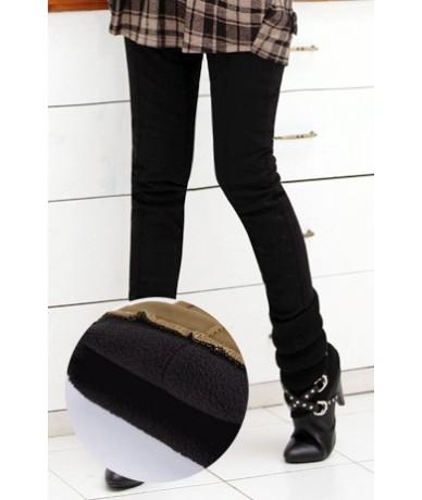 Winter warm women stretch high elastic waist casual cotton pants Plus size S-4XL thick fleece ladies patchwork pencil pants ...