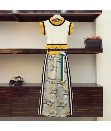 2019 Summer Knit Trim Sleeveless Short Pullover Top + Print Wide Leg Pant Set Women Elastic Waist Belt Calf-Length Chiffon P...