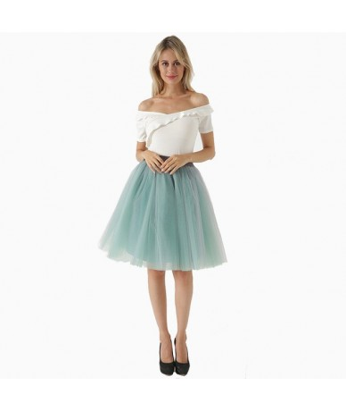 New Puffty Layered Tutu Tulle Skirts Womens High Waist Midi Knee Length Chiffon Skirt Jupe Female Tutu Skirts Faldas Saia - ...