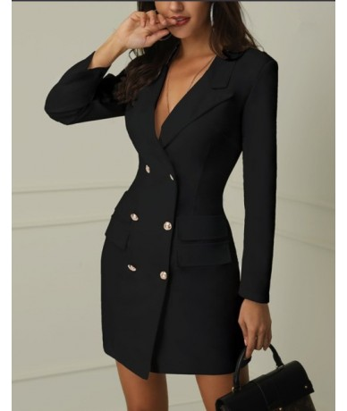 Women One-piece Dress Suit Office Lady Formal Dress Double Breasted Fashion Casual Suits Notched Blazer Jacket Female Outfit...