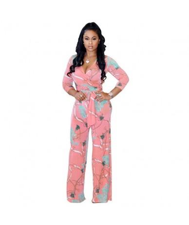 Plus Size Women Floral V-Neck Bandage Jumpsuits Long Sleeve Bodycon Jumpsuits Casual Long Jumpsuit - Pink - 443012719520-3