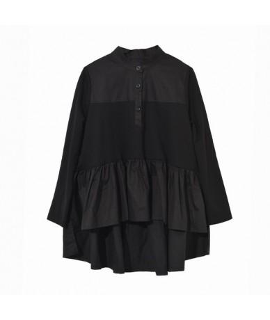 2019 New Spring Summer Stand Collar Long Sleeve Loose Pleated Back Long Irregular Shirt Women Blouse Fashion Tide JQ0160 - B...