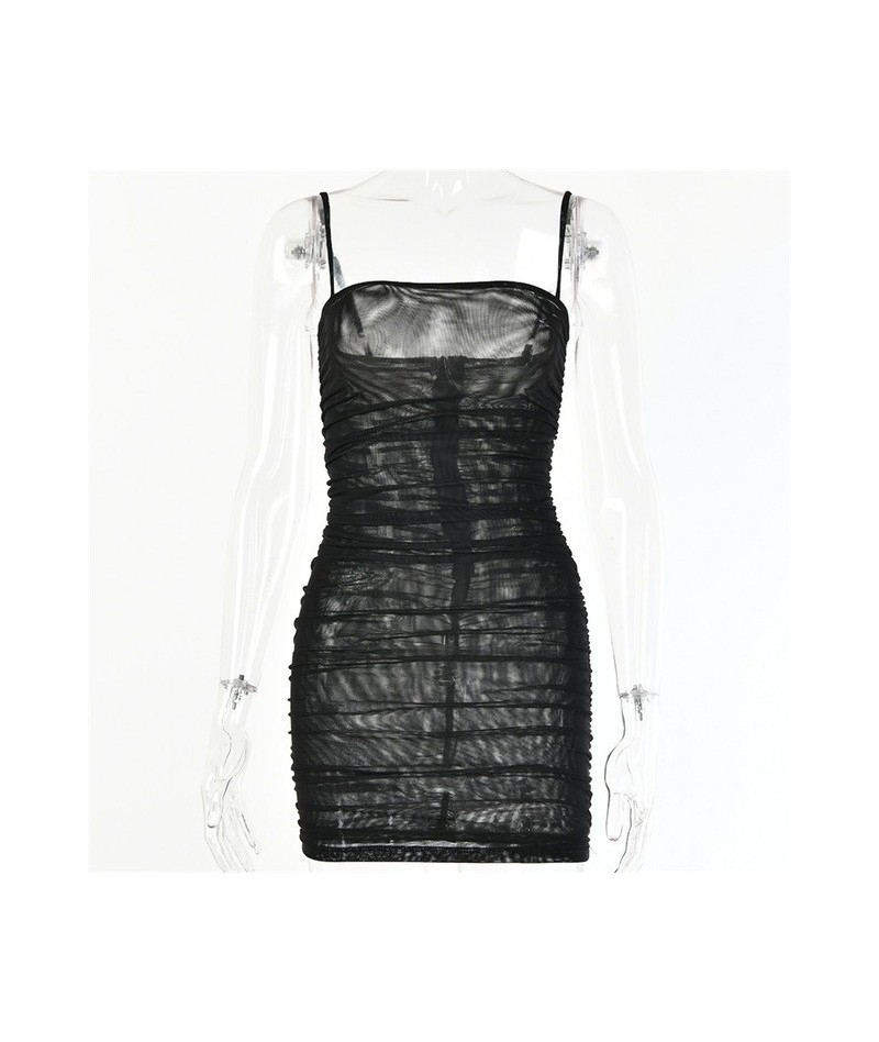 Double Layer Mesh Transparent Sexy Dress Women Spaghetti Strap Srapless Bodycon Dress Short Ruched Party Summer Dress - Blac...