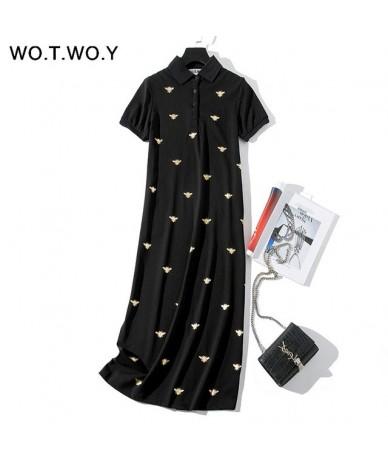 Bee Print Long Knee-Length Shirt Dresses Women 2019 Casual Turn-down Polo Straight Dress Female Pockets Cotton Clothes - Bla...