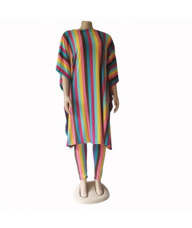 fashion colorful striped women dashiki elastic women set long top and pants 2in1 outfit - rose - 4J4131429374-2
