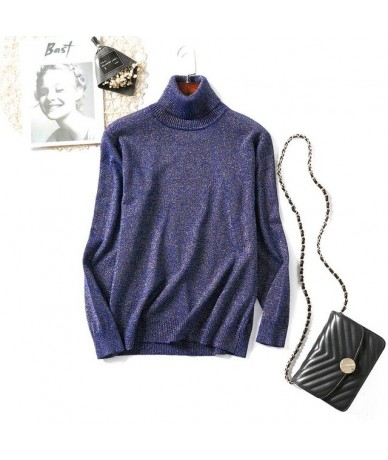 Turtleneck Sweater Woman Knitting Pullovers Shiny Lurex Sweater Women Slim Black Pink Bottoming Casual Jumper Tops Red Gray ...