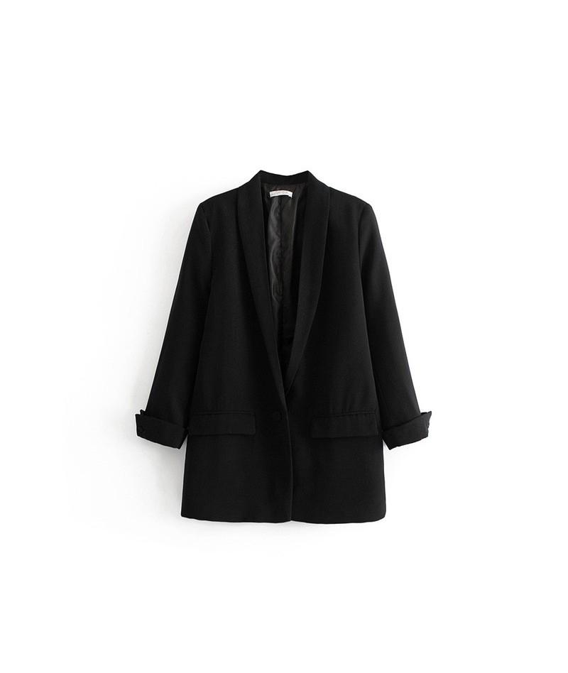 Women Autumn Long Sleeve Casual Blazers Vintage Single Button Female Loose Blazers Office Ladies Formal Blazers Outwear - 1-...