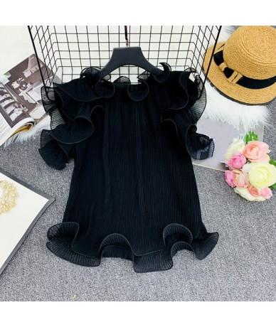 Chiffon Japanese Style Women Shirts Sweet Salsh Neck Sleeveless Blouse 2019 Summer Sexy Pleated Ruffles Ladies Tops 44345 - ...
