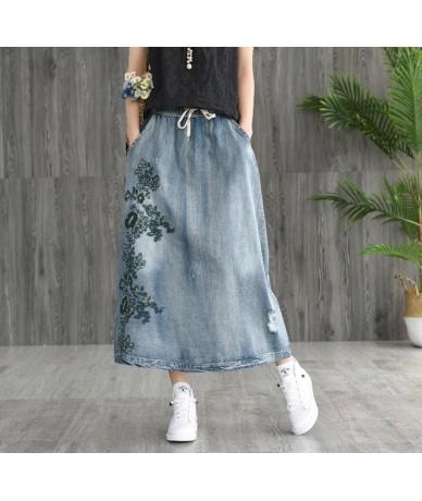 Women A-Linen Denim Skirt 2019 New Vintage Summer Autumn Long Skirts High Waist Casual Embroidery Jeans Skirts - Light Blue ...