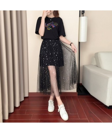 Women Letter Animal Black T Shirt+Sequins Mesh Skirts Suits Chic Long Top Hollow Out Skirt Sets For Summer Fashion Women - B...