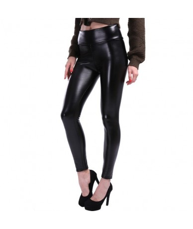 S-5XL Plus Size Leather Leggings Women High Waist Leggings Stretch Slim Black Legging Fashion PU Leather Pants Women - Black...