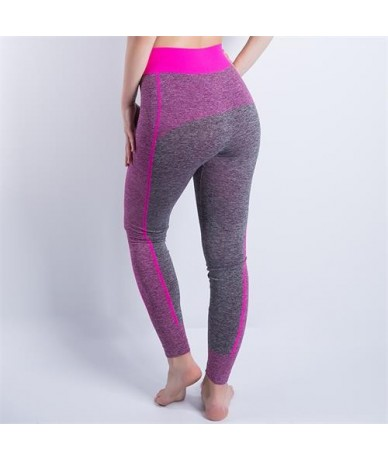 New Women High Waist Elastic Wicking Force Exercise Female Elastic Fitness Pants Slim Trousers Sexy Cropped Leggings - pink ...