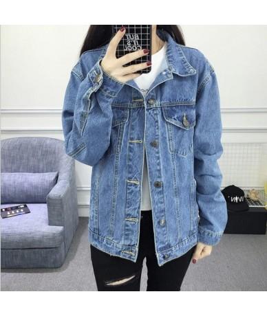 Solid Turn-down Collar Fur lining Jean Jacket for Women Loose Casual Blue Women Coats Winter Female outwear Warm Denim Femin...