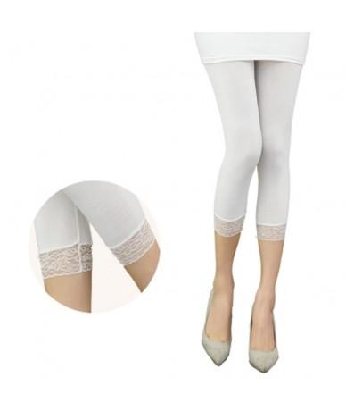 Women Elastic Lace Leggings Summer thin three quarter Pants bodycon jeggings big size Cropped Short Trousers Black White - W...