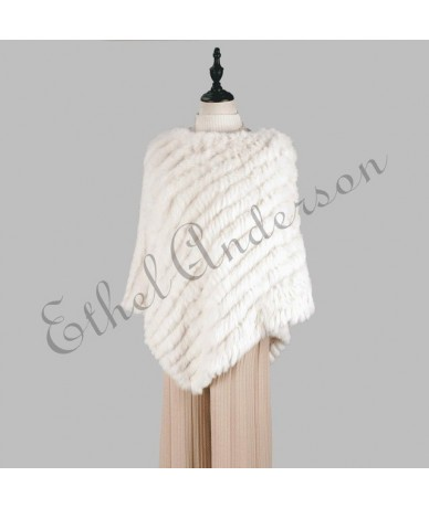 Women Pullover Knitted Poncho Cape Ladies Real Rabbit Fur Wraps Triangle Shawls Wedding Party Vest Outwear Coat Jacket Whole...