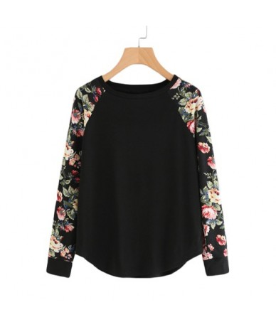Floral Raglan Sleeve Curved Hem Womens Tee Shirts Autumn Womens T shirts Casual Ladies Black Long Sleeve T shirt - Black - 4...