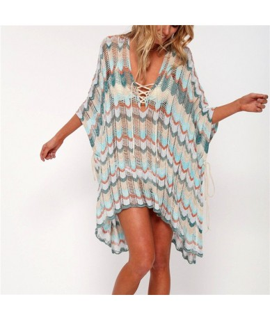 2019 Sexy Lace Up V-Neck Batwing Sleeve Tassel Short Summer Beach Dress Women Bohemian Striped Side Split Loose Mini Dress N...