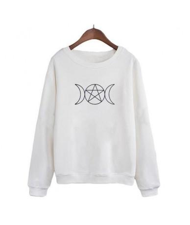 Triple Goddess Pentacle Sweatshirt Women Punk Fashion Crewneck Hoodies Harajuku Graphic Printing Pullover Tops - White - 4N3...