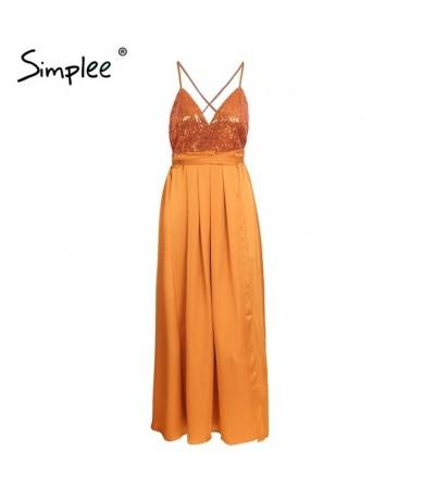 Sequin strap long dress women Sexy backless lace up party dress Elegant split satin summer dress female vestidos 2018 - Oran...