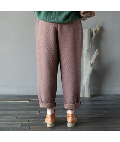 Vintage Pants 2019 New Women Autumn Winter Cotton Loose Thick Thermal Straight Casual 4 Colour Pants Elastic Waist - Coffee ...