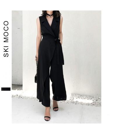 Office Ladies Elegant Jumpsuits Sleeveless Wide Leg Long Pants Workwear Jumpsuit Women Turndown Collar lace up Plain Overall...