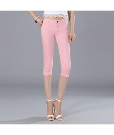 Skinny Women's Capris Jeans Pants Female Knee Length Stretch Slim Jeans shorts Women Candy Color Summer Denim Jeans Shorts -...