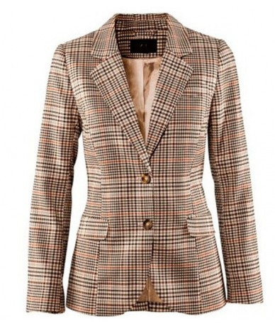 Autumn Women Plaid Blazers And Suit jackets British Vintage Slim Female Work Long Sleeve Checked Patch Elbow Small Blazer Su...
