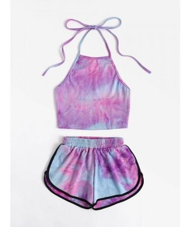 Two Piece Women's Sets Summer Halter Short Pantsshein Colorful Backless Crop Top Sexy Hot Pants Sweat 2019 Ensemble Femme - ...