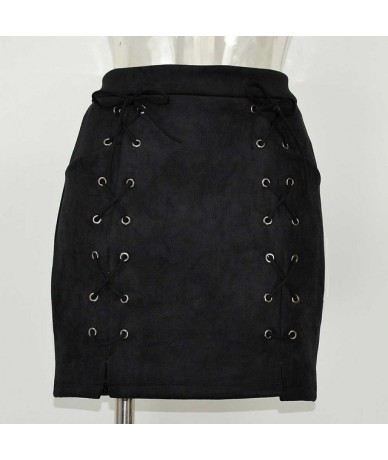 Hot Sale Lace Up Women's Suede Skirts Winter Autumn Spring Casual High Waist Pencil Skirts Mini Skirt Black Nude New Size S-...